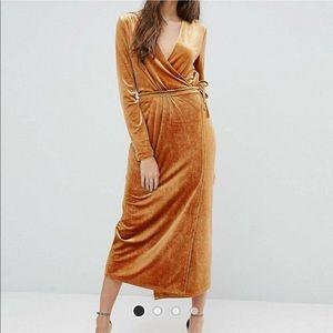 ASOS Vila Wrap ahold Velvet Dress